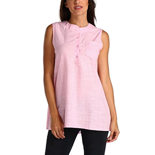 OSYARD Damen Sommer Sleeveless Leinen Tüll Gaze Pocket Bluse Slim Top Tank Weste Shirt(EU 40/M, Rosa) (Pocket-leinen-tunika 2)