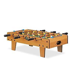 Relaxdays Futbolín de Mesa Portátil, color marrón, 23 x 69 x 37 cm (10022517)