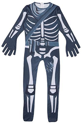 Xiemushop Kinder Overall-3D HD-Druck, Kinder Schädel Trooper Kostüm Horrible Kostüm Halloween-Party Kostüm mit Maske
