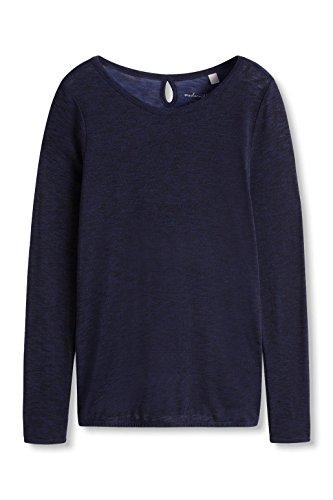 ESPRIT Damen Langarmshirt mit Schlitz IM Nacken Blau (NAVY 400)
