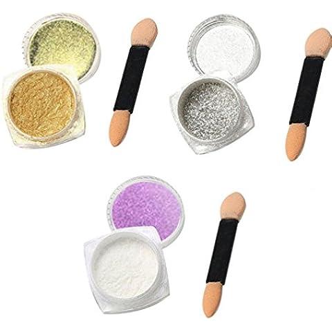 Transer® 3Pcs 1g Nail di scintillio polvere brillante Nail specchio di trucco della polvere di arte DIY Chrome pigmento Sponge Stick