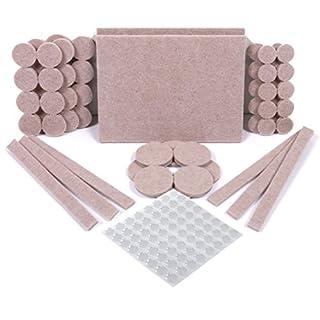 SIMALA Premium  Furniture Pads, 60 Felt Pads & 64 Rubber Bumpers (Pack of 124 )