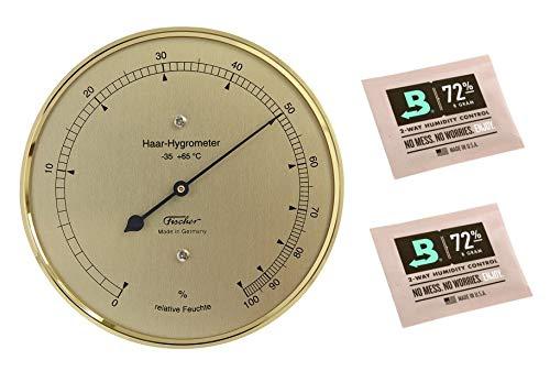 Lifestyle-Ambiente Fischer Haar-Hygrometer messingfarben Made in Germany und 2 STK Calibration Kits