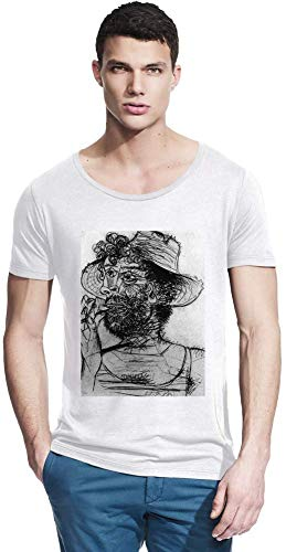 Medium Cone Top (Top Paintings of All Time Pablo Picasso - Man with Ice-Cream Cone Painting Men Bamboo Wide Neck T-Shirt Stylish Fashion Fit Custom Apparel by Medium)