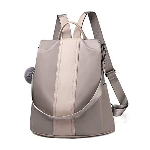 LOSMILE Damen Rucksack Handtaschen Nylon Daypack Umhängetasche Reiserucksack Schulrucksack Backpack Schultertasche PU Leder Anti Diebstahl Tasche für Schule Reise Arbeit (Khaki-groß)