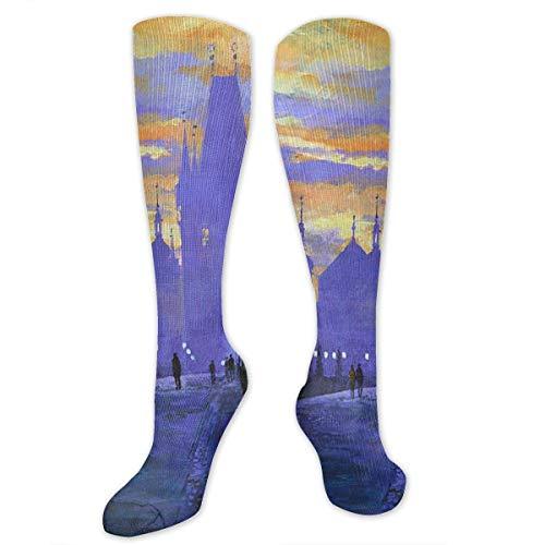 (NFHRREEUR Knee High Socks Sunset Glow On The Beautiful City Oil Painting Compression Socks Sports Athletic Socks Tube Stockings Long Socks Funny Personalized Gift Socks for Women Teens Girls)
