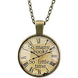 DELEY Vintage Engranajes de Bronce del Reloj de Libros Cúpula de Cristal en Vez de la Gema Colgante del Collar de la Declaración Reloj