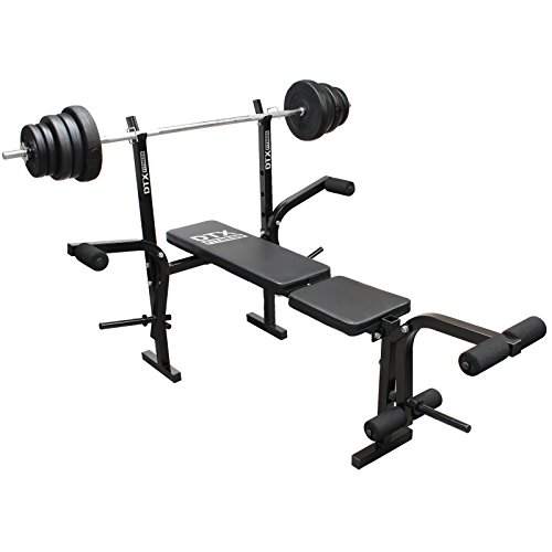 41g3ojp98eL. SS500  - DTX Fitness All-in-One Dumbbell/Barbell Weight Bench with Butterfly & Preacher Curl