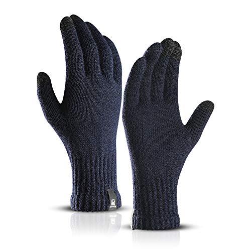 Kentop Winter Handschuhe Damen Herren Strick Baumwolle Handschuhe Voll Finger Handschuhe Outdoor Winddicht Warme Handschuhe Touchscreen Handschuhe (Blau) -
