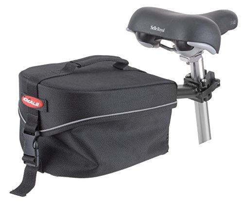 Ideale Gepäckträgertasche mit Sattelstützbefestigung, Tragegriff und Regenüberzug, Aluminium-gestell, schwarz, 28 x 17 x 16 cm, 4028189640851