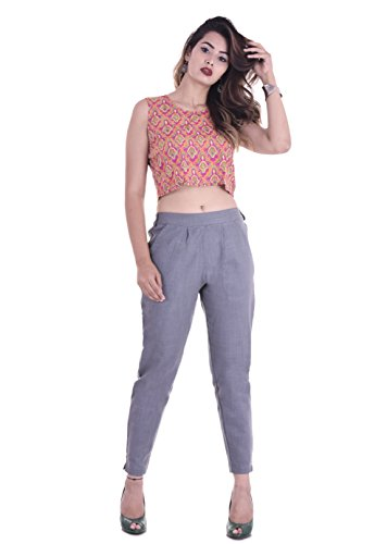 FASHION CLOUD Women's Regular Fit Cotton Pants (FCSPCS002, Grey, Large)