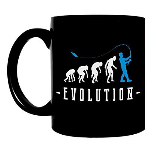 Kaffeetasse schwarz 0,3l großer Pott bedruckt mit Angler Motiv Petri Heil Evolution