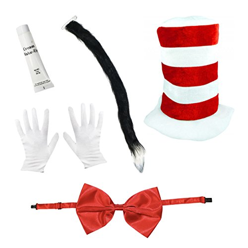 Adults Cat Hat Fancy Dress Costume - Hat, Bow Tie, Tail, Gloves, Face Paint & Braces by Robelli (Oversized Bow)