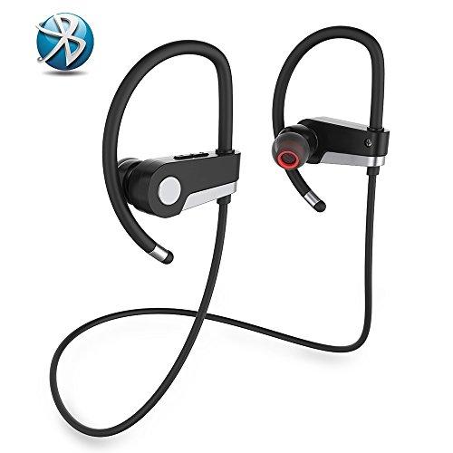 Bluetooth Kopfhörer Stereo Sport Bluetooth 4.1 Ohrhörer Noise Cancelling IPX6 Wasserdichte Kopfhörer Sichere Passform für Jogging Lauf Gym Sport mit Eingebautem Mic für iphone Android ect.(Silber)