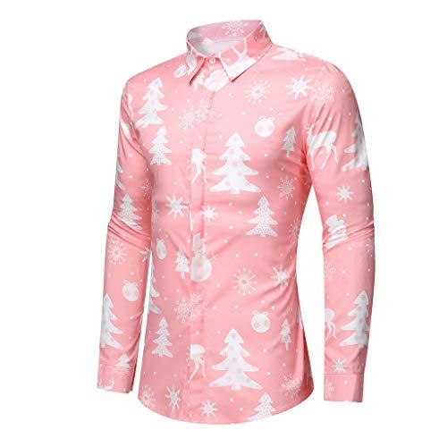 Camisa Navidad Liquidación Camisas Hombre de Manga Larga Casual Shirts Moda Ropa Hombres Corte Slim...