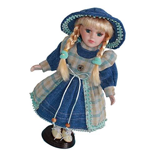 Fenteer Kleine Viktorianische Mädchen Puppen Porzellanpuppe Keramik Mädchen Puppe im Kleid & Hut - 30cm - D