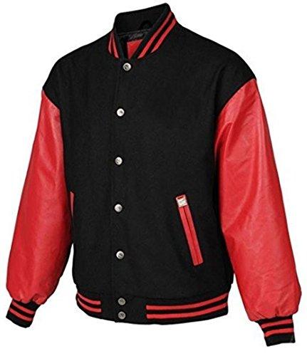Preisvergleich Produktbild Windhound Original College Jacke schwarz mit roten Echtleder Ärmel L