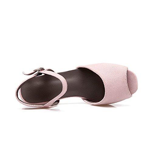 VogueZone009 Femme Couleur Unie Dépolissement à Talon Correct Ouverture Petite Boucle Sandales Rose