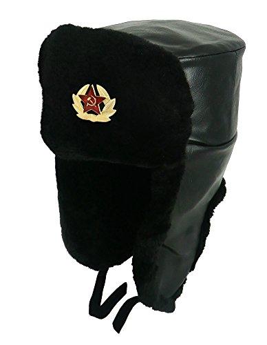6c19c038c8e98 CUCUBA Unisex Sombrero Polipiel Negro Original Soviética Ushanka Ejército  Ruso Varios Tamaños (60 Size XL