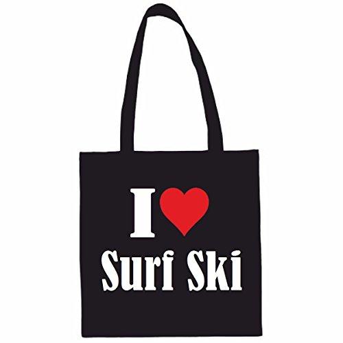Sac à Bandoulière I Love Surf Ski Shopping Bag Sac d'école Sac de Sport 38x 42cm en Noir ou Blanc.. Le cadeau parfait pour votre amoureux