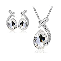 Swarovski Elements Unique Jewelry Set For Women - 18K White Gold Plated Crystal Necklace & Earrings Set - Valentine's Gift (White)