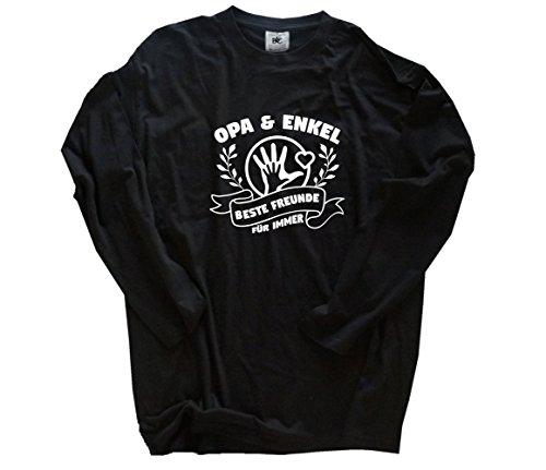Opa und Enkel beste Freunde für immer Longsleeve-Shirt Schwarz XL