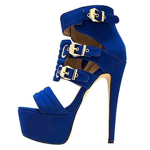 EKS , Sandales Plateforme femme Bleu - Blau-Wildleder
