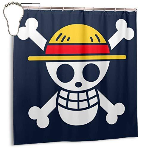 Gsegseg - tenda da doccia in tessuto di poliestere impermeabile, motivo: bandiera dei pirati, con ganci, 183 x 183 cm
