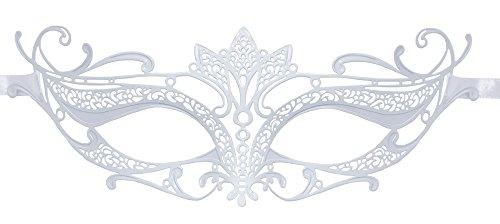 Venezianische Augenmaske Enya - Weiß - Wunderschönes Zubehör für Ihr Kostüm als Fee, Elfe oder Edelfrau zu Fasching, Maskenball oder Mottoparty
