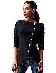 FEITONG mujeres moda Botón delgado ocasional de la chaqueta Juego de la señora capa de la chaqueta
