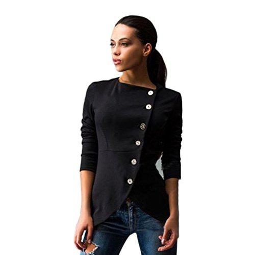 FEITONG mujeres moda Botón delgado ocasional de la chaqueta Juego de la señora capa de la chaqueta (M, Negro)