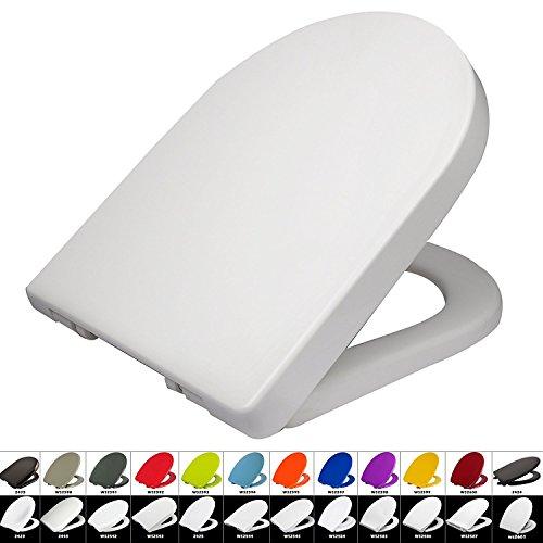 WC Sitz mit Absenkautomatik #22, Duroplast, Fast Fix/Schnellbefestigung, Softclose, Antibakterielle Beschichtung (2543 Weiß)