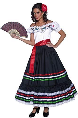 Damen Deluxe Spanisches Senorita-Kostüm, traditionelles Tänzerin, Nationalkleid, Party, Karneval, Festival, Fasching (Kostüme Spanische Tänzerin)