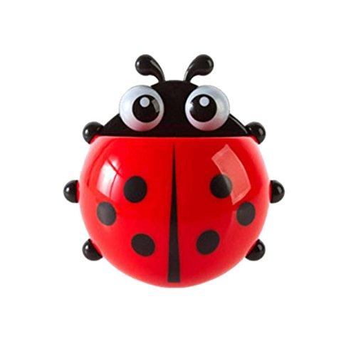DDLBiz® Nette Karikatur Sucker Ladybug Zahnbürstenhalter (Rot)