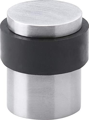 Gedotec Boden-Türpuffer Edelstahl matt Tür-Stopper mit Schrauben - H3693 | Gummi-Puffer 5 mm | Höhe: 39 mm | Türpuffer für Zimmertüren & Innentüren | 1 Stück - Stopper rund mit Befestigungsmaterial