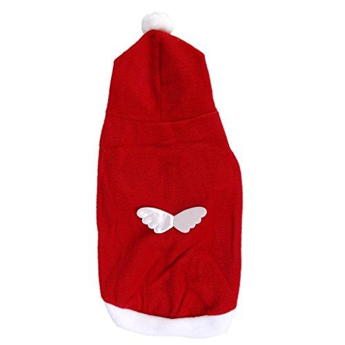 TOOGOO(R) Kleiner Hund Weihnachten Weihnachtsmann Outfit Kostuem Engelsfluegel Muster XL