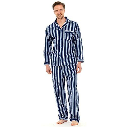 Mens, Die Traditionelle Flanell PJ Pyjama Set Nachtbekleidung PJ Schlafanzüge Sets Herren Baumwolle - M, Marineblau Gestreift (Set Baumwolle Pj)
