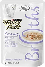 Purina Fancy Feast Broths with Wild Salmon & Whitefish Decadent Creamy Broth, 4