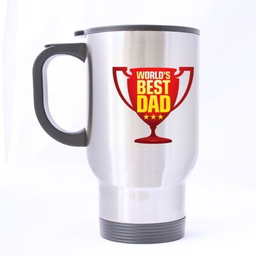 COOL Trophy Motif World's Best Dad Voyage en acier inoxydable Tasses à café/thé Sliver 396,9 gram Cadeau unique pour père