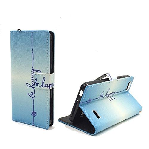 König Design Handyhülle Kompatibel mit Huawei G Play Mini/Honor 4C Handytasche Schutzhülle Tasche Flip Case mit Kreditkartenfächern - Be Happy Blau