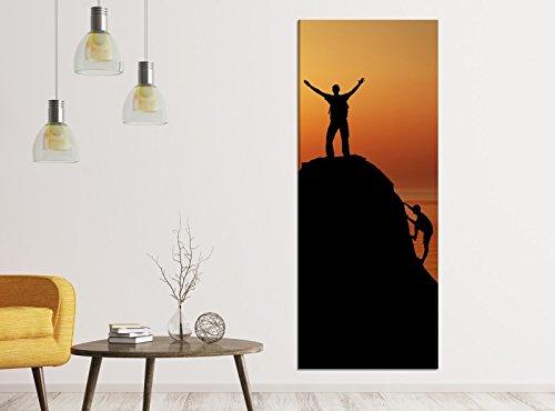 Leinwandbilder 1Tlg 40x100cm Berg Bergsteiger Gipfel Sonnenuntergang Landschaft Leinwandbild Kunstdruck Wand Bilder Vlies Wandbild Leinwand Bild Druck 9ZA123, Leinwandbild Gr. 1:40cmx100cm