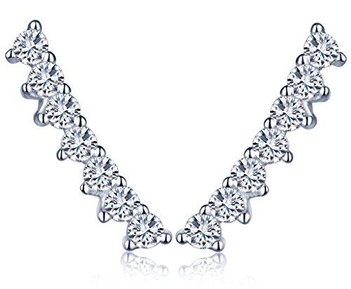 Unendlich U Modisch Damen Ohrstecker 925 Sterling Silber Zirkonia Stecker Ohrklemme Ohrringe Ear Cuff Ohrschmuck, Silber