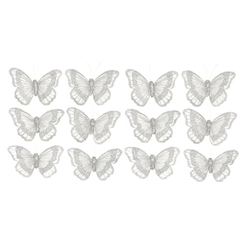 10cm Silver Butterfly on Crocodile Clip For Crafts or Bridal Bouquets