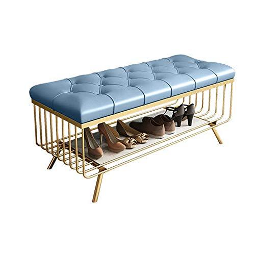 Zapatero Banco con 1 nivel de asiento Cushion Shoe Cabinet Banco Azul claro Metal Dorado Almacenamiento...