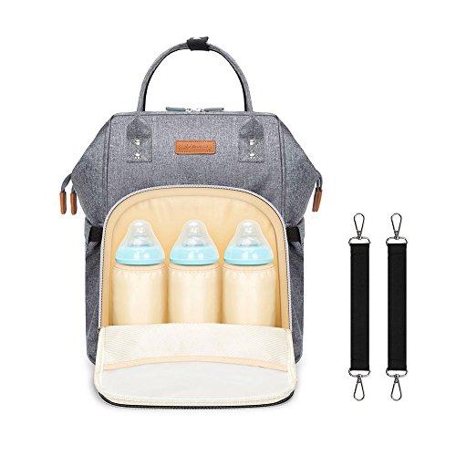 HEYI Wickeltasche, Reise Wickelrucksack, Große Kapazität Multifunktion Baby Tasche, Isoliert Mummy Rucksack Passform für Kinderwage (Grau) (Einzigartige Handtaschen Shop)