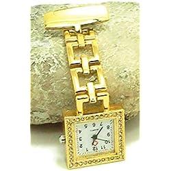 QBD Classic Kristall Rot Kreuz Krankenschwestern Armbanduhr Krankenhaus Arzt Paramedic Tunika Brosche Taschenuhr (quadratisch gold)