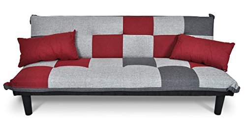 Samira divano letto clic clac in tessuto grigio scuro - rosso - grigio chiaro - divanetto mod. russell