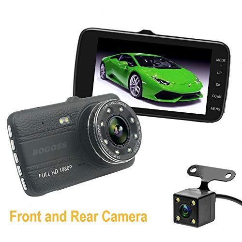 Car Camera 1080P Full HD Front and Rear Dual Lens Vehicle DVR Camcorder 170 ° Wide Angle Parking Assist Monitoring with Night Vision Motion Detection G-Sensor Loop Recording (Dual Lens Hd Auto-dvr)