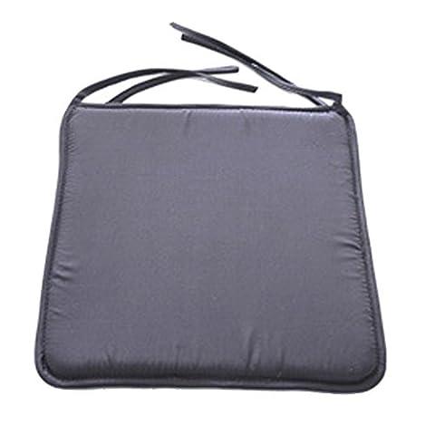 Lot de 4 galettes de chaises avec attaches - coussins de fauteuil - Colore unie - 40x40x1 cm Gris