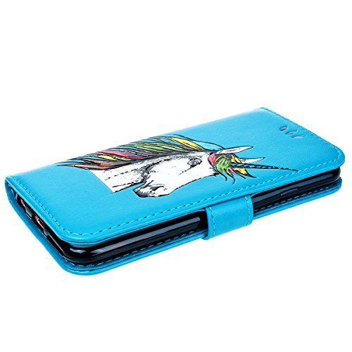 Vemmore Cover per iPhone 6 Plus / iPhone 6S Plus Case in Pelle di Flip Portafoglio PU Custodia con Unicorno Pattern Flessibile Morbido TPU Interno Caso con Sottile Stent Fibbia Magnetica Protettiva Pa Blu
